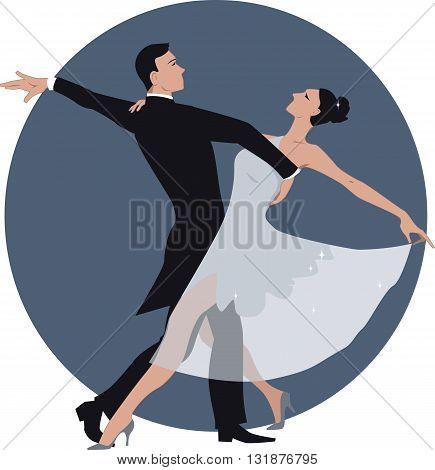 Vector illustration of a couple dancing waltz, no transparencies, ESP 8