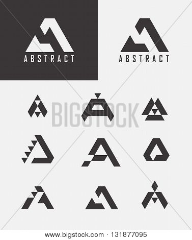 Letter A logo icon design template elements. Monogram