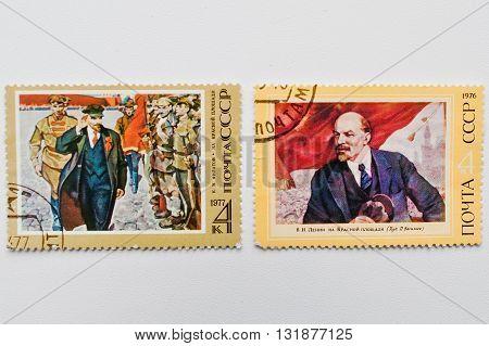 Uzhgorod, Ukraine - Circa May, 2016: Two Postage Stamp Printed In Ussr Showing Vladimir Lenin At Red