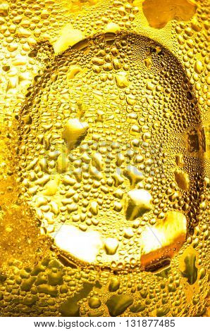 gold condensation. bubbles of water. texture yellow