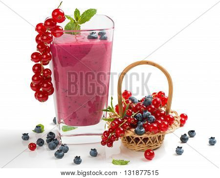 Redcurrant and blueberry smoothie isolated on white background.