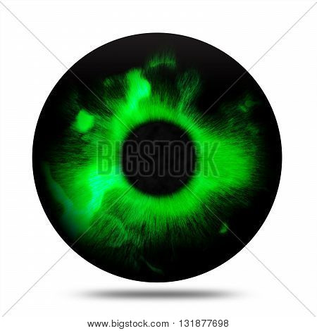 Isolated abstract fantasy magic green eye pupil