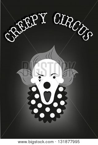 Creepy clown poster. Circus man face. Flat design