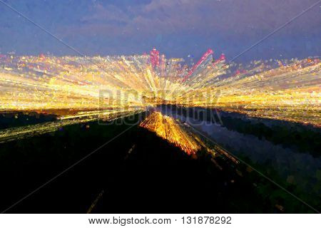 Watercolor Paint Effect. Blurred And De Focused Night Lights Of Town.