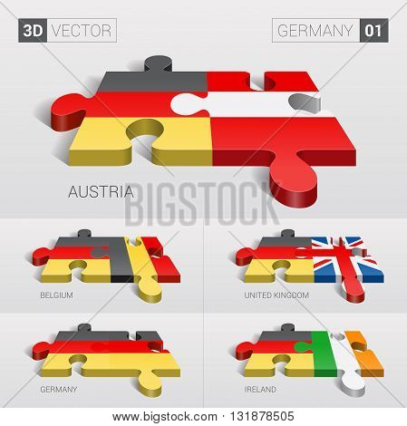 Germany and Austria, Belgium, United Kingdom, Germany, Ireland Flag. 3d vector puzzle. Set 01.