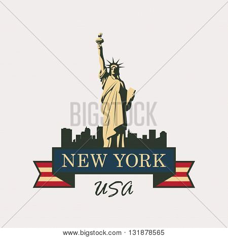 banner with statue of Liberty in background of New York in United States flag