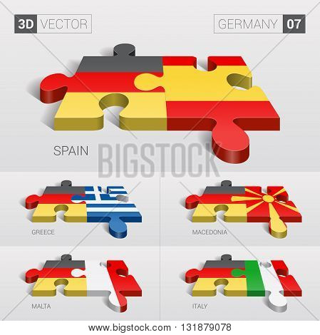 Germany and Spain, Greece, Macedonia, Malta, Italy Flag. 3d vector puzzle. Set 07.