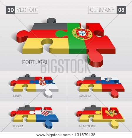Germany and Portugal, Serbia, Slovenia, Croatia, Montenegro Flag. 3d vector puzzle. Set 08.
