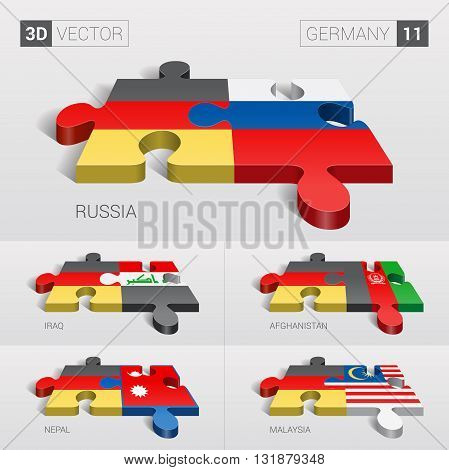 Germany and Russia, Iraq, Afghanistan, Nepal, Malaysia Flag. 3d vector puzzle. Set 11.
