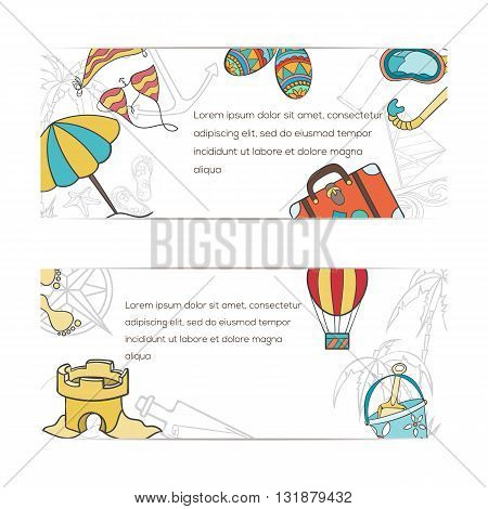 Summer doodles hand drawn vector symbols and objects