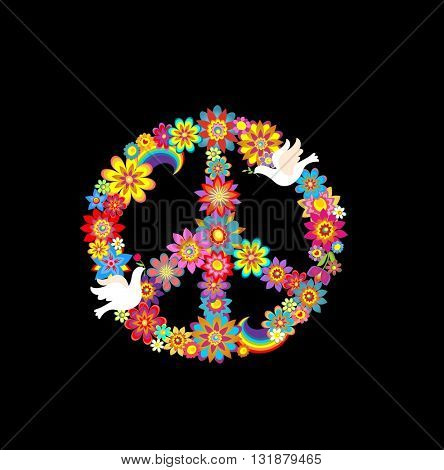 Peace flower symbol with paper doves