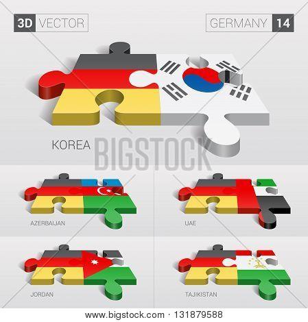 Germany and Korea, Azerbaijan, UAE, Jordan, Tajikistan Flag. 3d vector puzzle. Set 14.