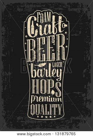 Typography poster. Beer glass on dark paper background. Lettering text in silhouette mug. Vintage vector engraving illustration. Advertising design for pub.