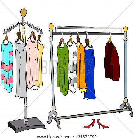 vector illustration of two different hand drawn clothes racks with t-shirts sweaters dresses coat and trousers on it