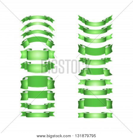 isolated vector colored satin ribbons set - green
