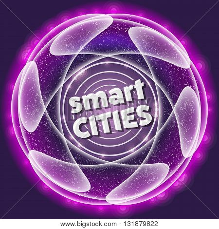 Vector abstract object with smart cities icon