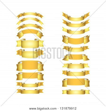 isolated vector colored satin ribbons set - golden