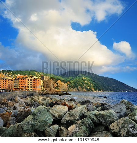 Camogli views of the castle and sea with blue sky
