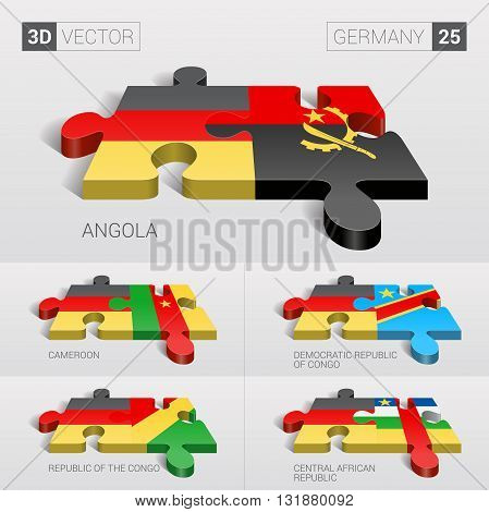 Germany and Angola, Cameroon, Democratic Republic of Congo, Republic of the Congo, Central African Republic Flag. 3d vector puzzle. Set 25.