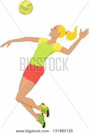Young woman playing volleyball, jumping and hitting a ball, isolated on white