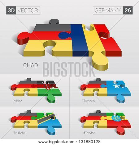 Germany and Chad, Kenya, Somalia, Tanzania, Ethiopia Flag. 3d vector puzzle. Set 26.