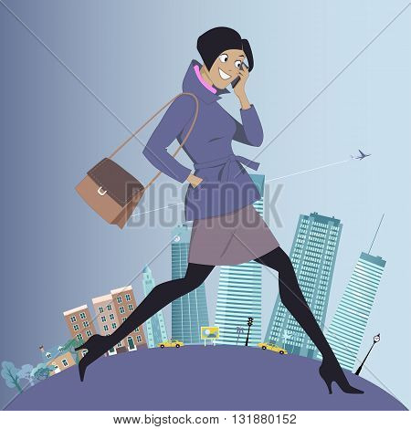 Young energetic woman walking and talking on her cell-phone, urban landscape on the background showing changes from morning to daytime, vector illustration, no transparencies, EPS 8