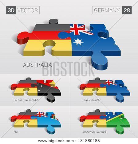 Germany and Australia, Papua New Guinea, New Zealand, Fiji, Solomon Islands Flag. 3d vector puzzle. Set 28.