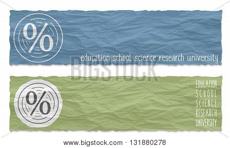 Two colored banners of crumpled paper with percent icon