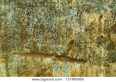 Rusty Metal Surface With Old Paint And Scratches.