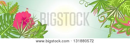 Horizontal banner with tropical print