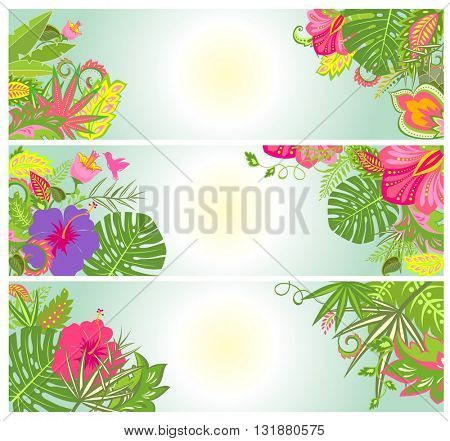 Horizontal banners with exotic flowers