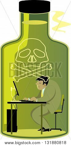 Toxic work environment. Depressed man working on a computer in a bottle of poison