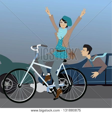 Young hipster girl riding a bicycle and flashing peace signs, passing cars, stuck in a traffic jam, vector illustration