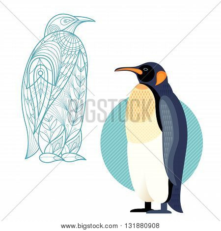 Bird penguin. Flat icon and template for adult coloring zen tangle. Set of vector animals in different unusual style. Illustration collection of nature objects isolated on white background.
