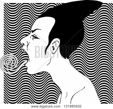 Female profile with twisted tongue stuck out, black and white vector illustration
