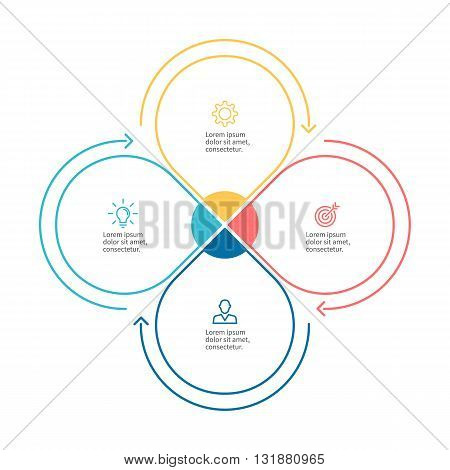 Linear infographics. Business diagram with 4 steps. Vector template.