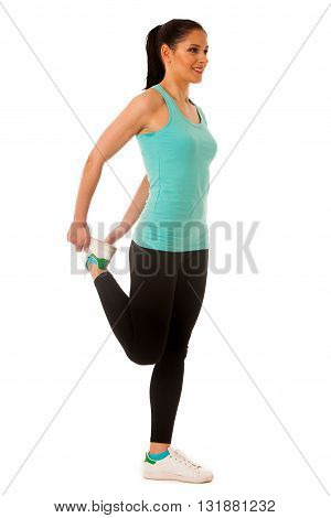 Woman Stretching Legs On Blue Mat, Isolated Over White Background