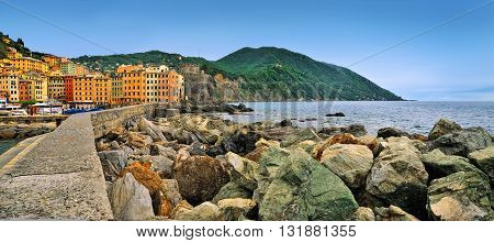 panoramic view of the town Camogli with colored houses and sea