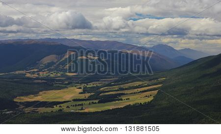 Landscape in New Zealand. View from Mt Robert.