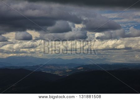 Cloudy day in the Southern Alps. View from Mt Robert New Zealand.