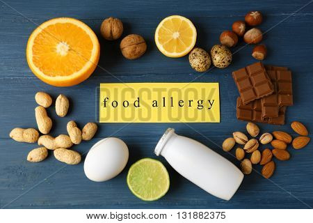 Allergy food concept. Allergic food on wooden background