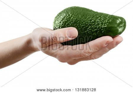 Female hand holding avocado isolated on white