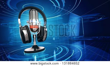 Webinar, Online Education and Training concept - Microphone and headphones on blue technology background. 3d render
