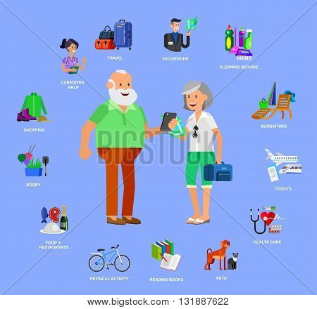 vector detailed character senior, senior age. Old age couple and icons. Pension hobbies and interests leisure of pensioner
