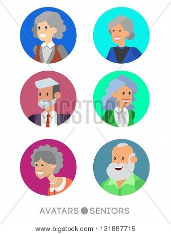 Cute cartoon seniors avatars set, male and female seniors, old people faces collection. Vector detailed seniors avatars , old people avatars, seniors avatars