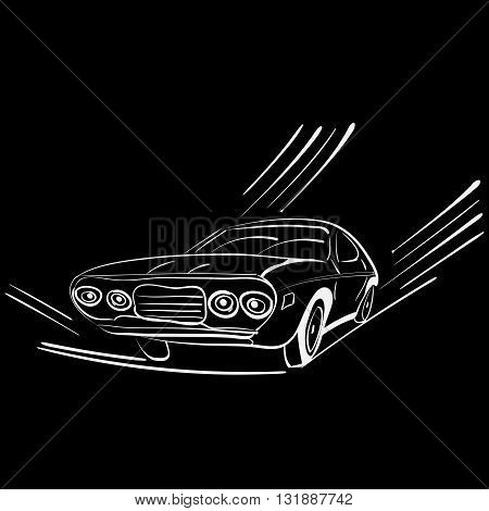 vector illustration of a silhouette of a retro car on move