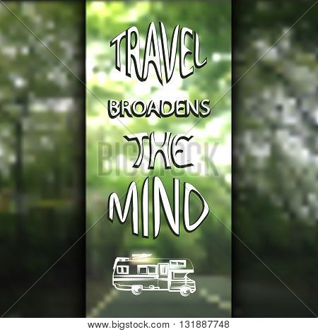 vector illustration of an abstract background of trees and road with transparent sign in the middle