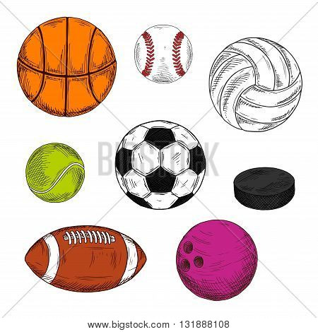 Sketched sporting balls and puck for soccer and american football, baseball and ice hockey, basketball and tennis, volleyball and bowling. May be use as sport team, club and healthy lifestyle design