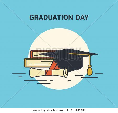 Graduation day flat line illustration of education symblols such as books, graduation university hat and certificate with red ribbon. Flat icon isolated on blue background
