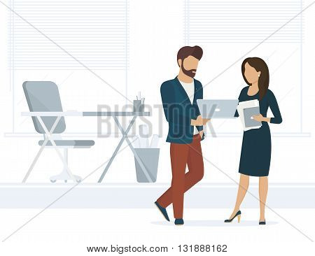 Office people discuss a project. Flat illustration of project brainstorming between two colleagues. Man showing the project on laptop to female business woman. He is a designer or project developer